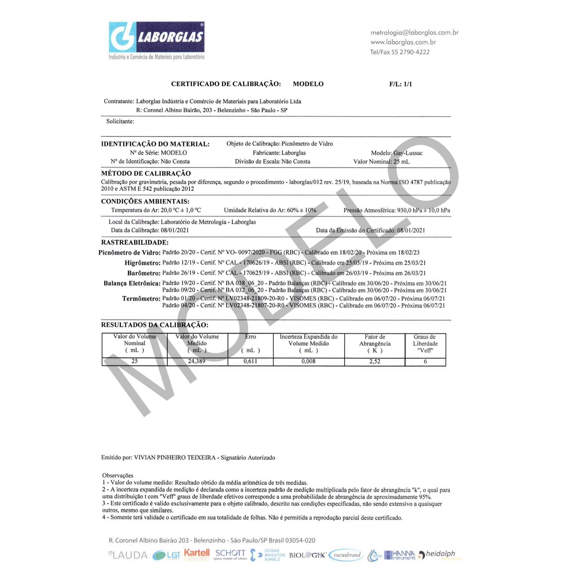 PICNÔMETRO GAY-LUSSAC COM SAÍDA LATERAL COM TERMÔMETRO 25 ML E CERTIFICADO RASTREÁVEL - Laborglas - Cód. 9491214-C