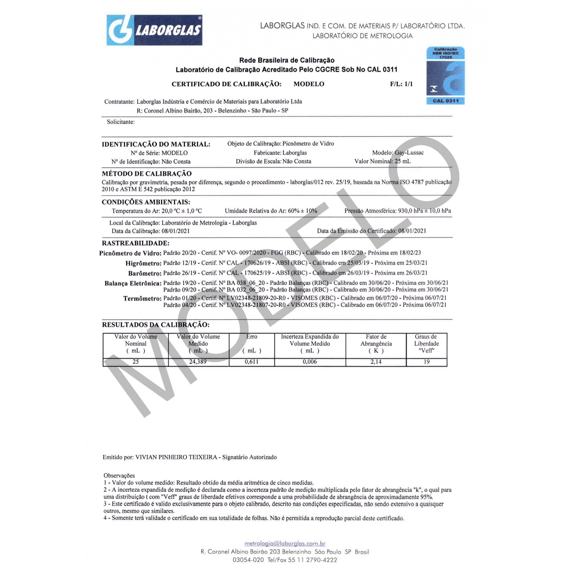 PICNÔMETRO GAY-LUSSAC SEM TERMÔMETRO 1000 ML CERTIFICADO RBC - Laborglas - Cód. 9491154-R