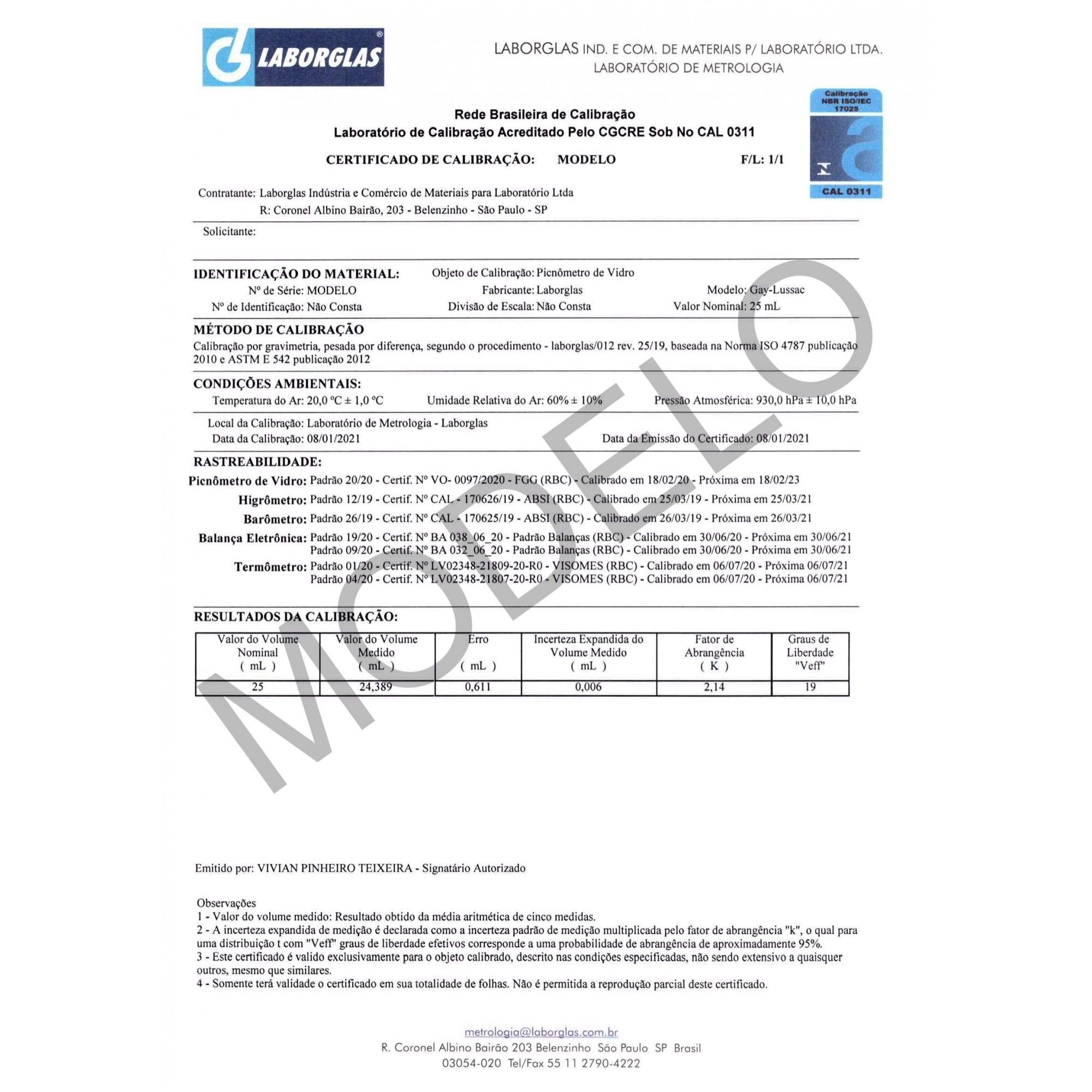PICNÔMETRO GAY-LUSSAC SEM TERMÔMETRO 25 ML CERTIFICADO RBC - Laborglas - Cód. 9491114-R
