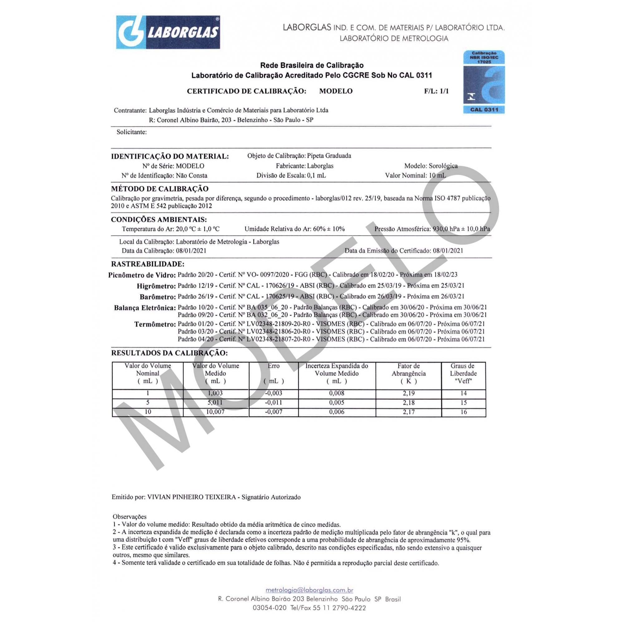 PIPETA GRADUADA SOROLÓGICA ESGOTOTAMENTO TOTAL 1 ML 1/10 CLASSE A COM CERTIFICADO RBC - Laborglas - Cód. 9443606-R