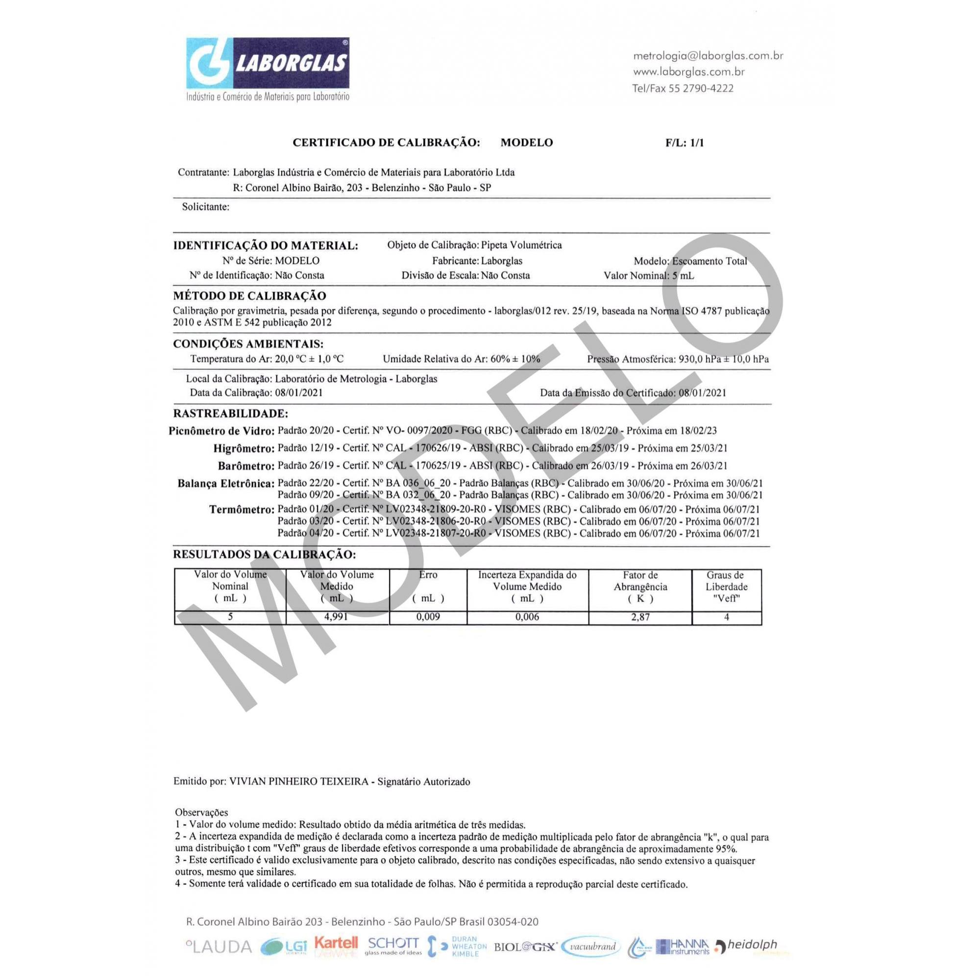 PIPETA VOLUMÉTRICA ESGOTAMENTO TOTAL CLASSE A  20 ML COM CERTIFICADO RASTREÁVEL - Laborglas - Cód. 9433814-C