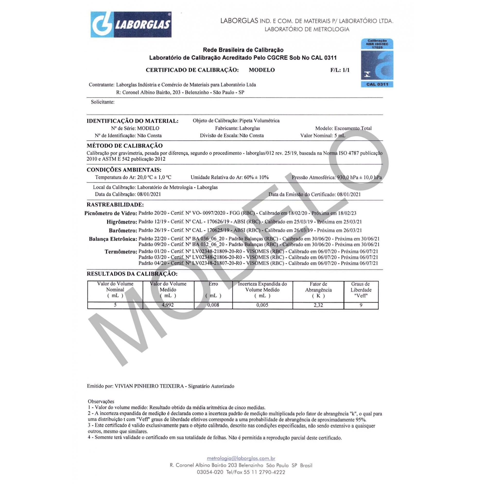 PIPETA VOLUMÉTRICA ESGOTAMENTO TOTAL CLASSE A  5 ML COM CERTIFICADO RBC - Laborglas - Cód. 9433806-R