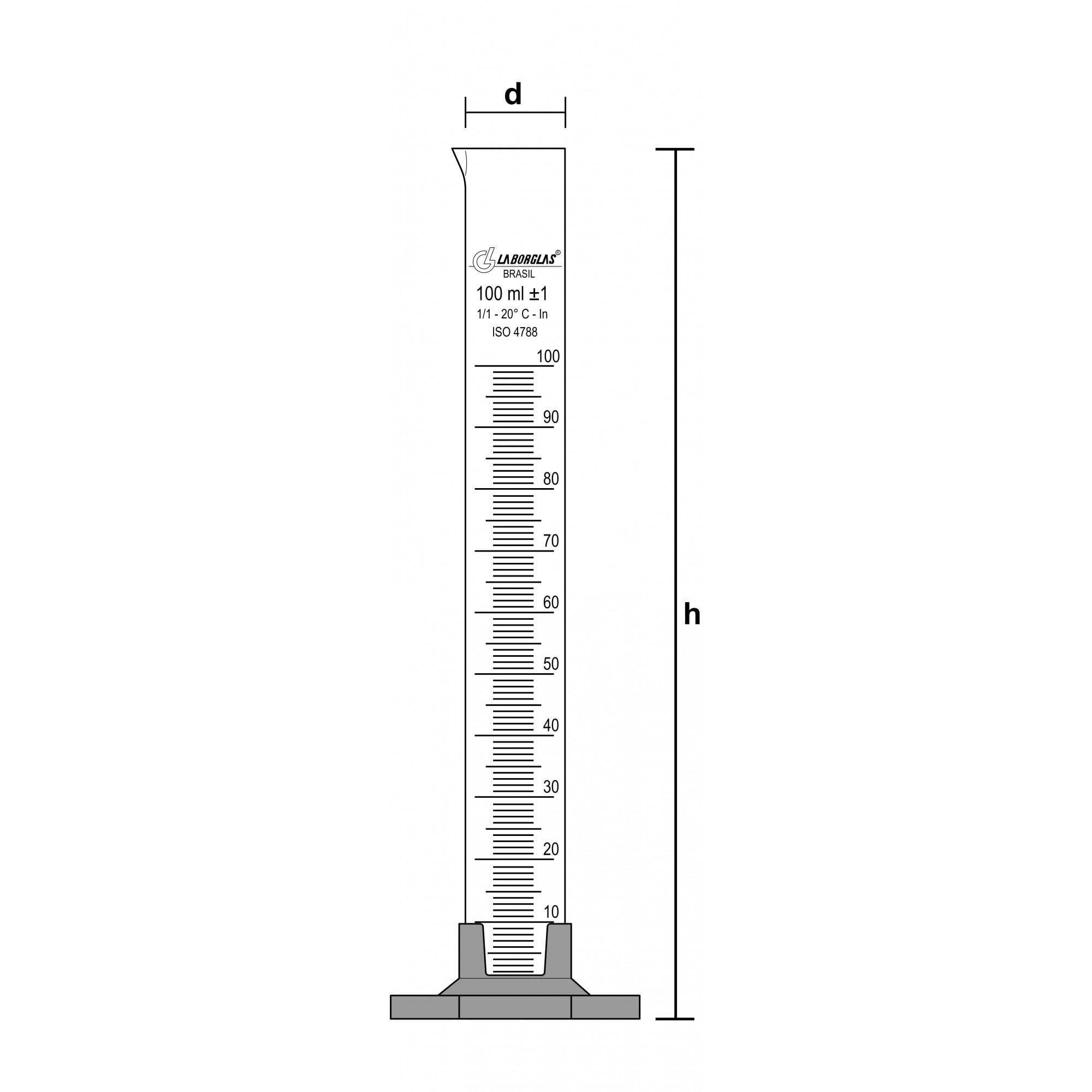 PROVETA GRADUADA BASE HEXAGONAL DE POLIPROPILENO 250 ML CERTIFICADO RASTREÁVEL - Laborglas - Cód. 9138636-C