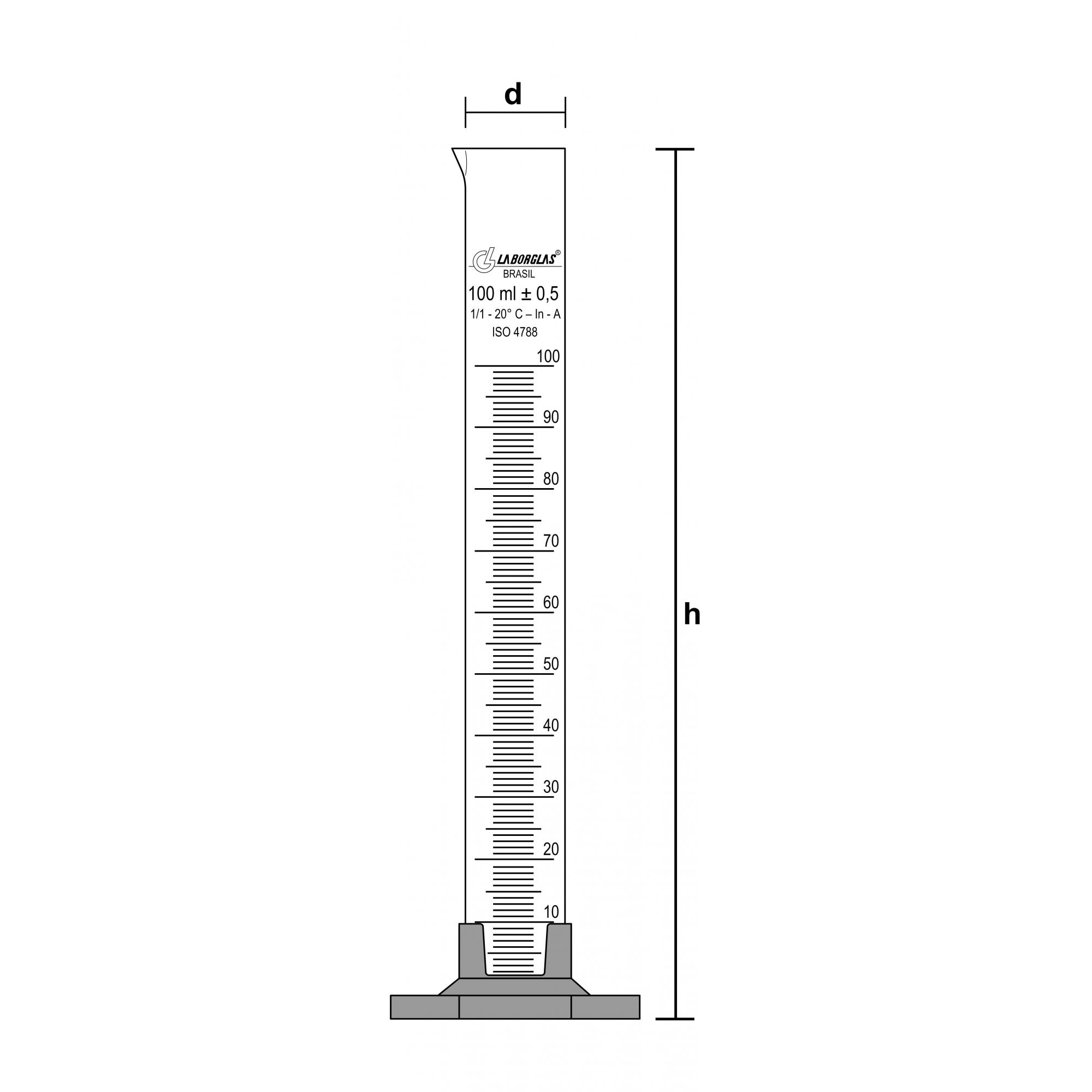 PROVETA GRADUADA BASE HEXAGONAL DE POLIPROPILENO CLASSE A 250 ML - Laborglas - Cód. 9138736