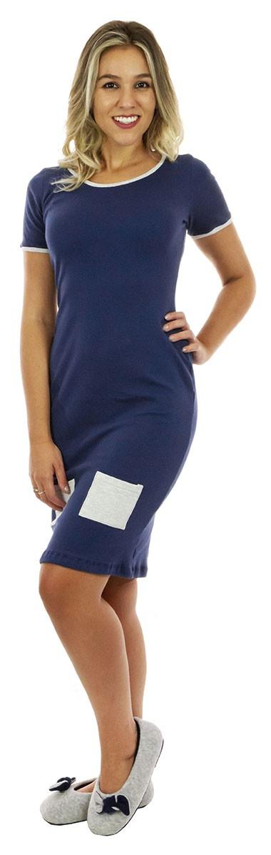 Camisola de algodao azul bolsinho