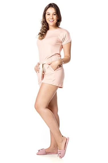 Conjunto homewear Dani rosa algodão doce