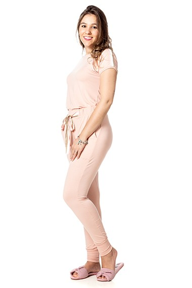 Conjunto homewear gaby rosa algodão doce