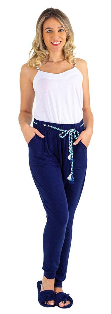 conjunto viscolycra azul calça clochard