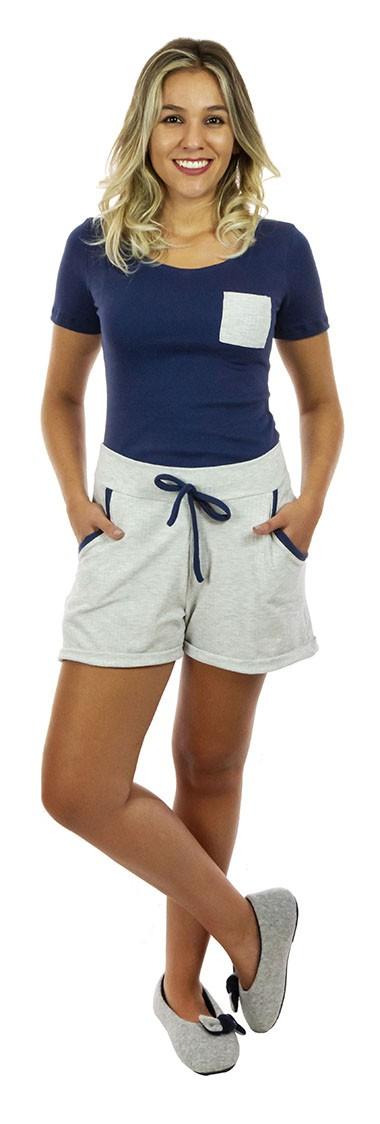 short doll algodao azul mescla jogger