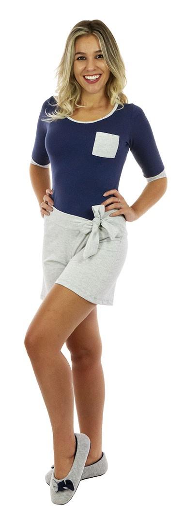 short doll algodao azul mescla shorts evase