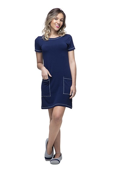 Vestido homewear amanda azul marinho