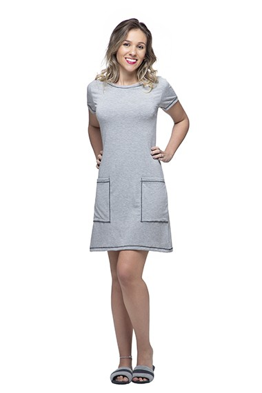 Vestido homewear amanda cinza mescla v