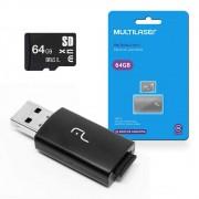 2X1: LEITOR USB + CARTAO DE MEMORIA CLASSE 10 64GB - MC164