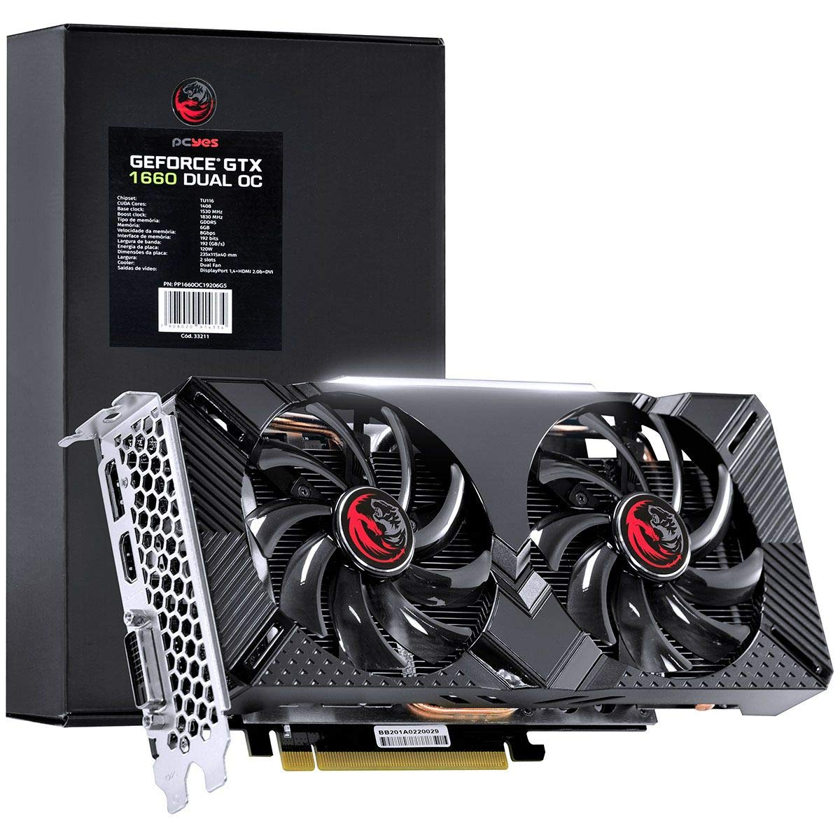 GEFORCE GTX 1660 DUAL OC 6GB GDDR5 192BIT