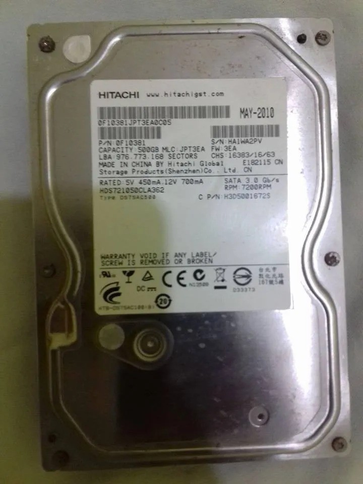 HD HITACHI SATA 3.0GB/S 500GB 7200RPM 0F10381 HDS721050CLA36