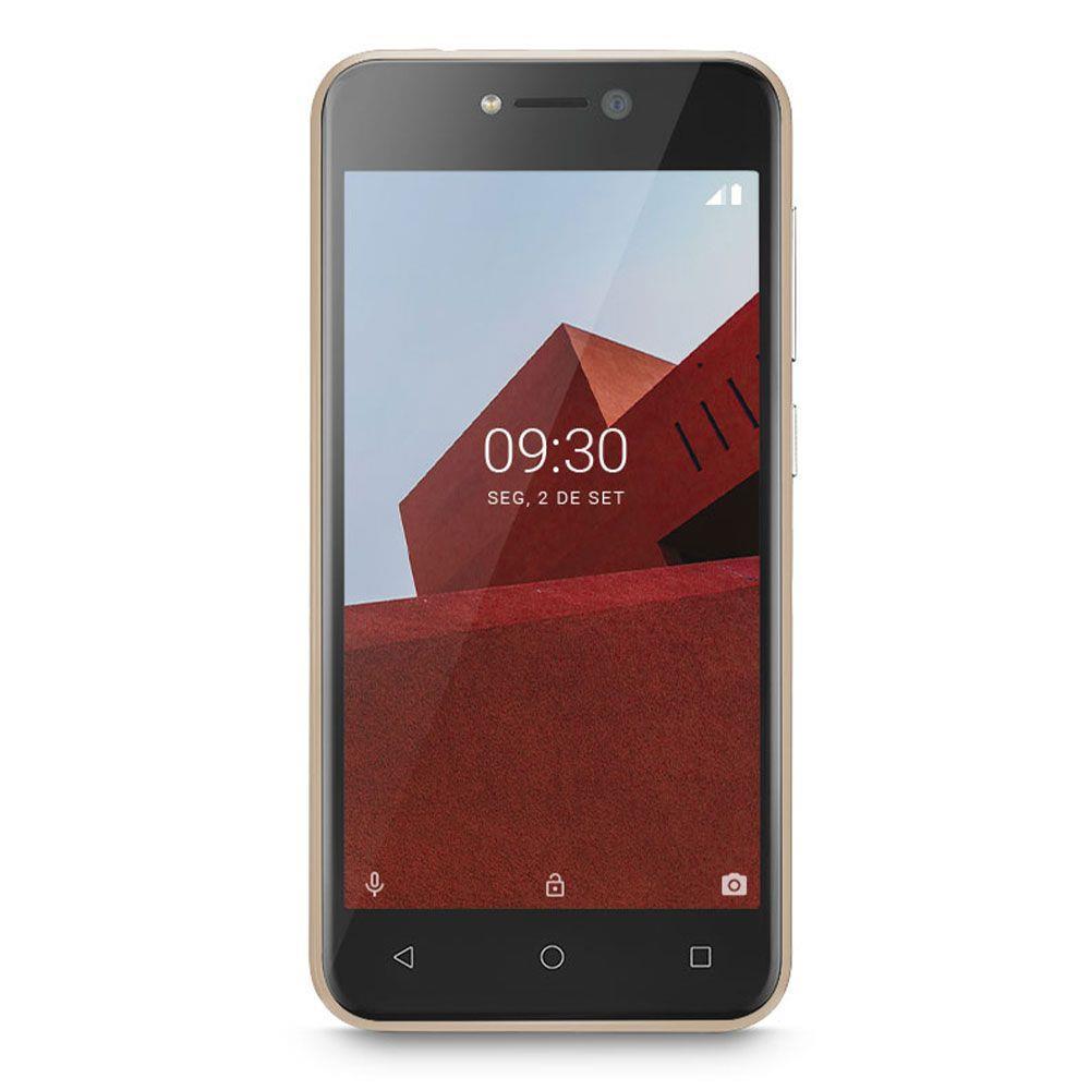 """SMARTPHONE MULTILASER E P9129 32GB DUAL CHIP TELA 5.0"""" CÂMERA 5MP FRONTAL 5MP ANDROID 8.1 DOURADO"""