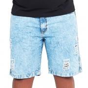 Bermuda Jeans Marmorizada Destroid Plus Size