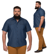 Camisa Masculina Colarinho Balãozinho XXPlus Size