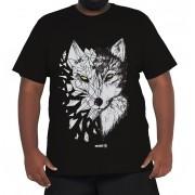 Camiseta Lobo Geométrico Plus Size 100% Algodão