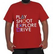 Camiseta Play Station XPlusSize 100% Algodão