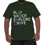 Camiseta Play Station XXPlusSize 100% Algodão