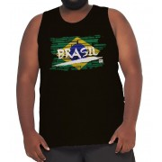 Camiseta Regata Brasil Algodão Plus Size