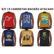 Kit 12 Camisetas Machão Algodão Plus Size p/ Revenda Atacado