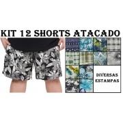 Kit 12 Shorts Plus Size 100% Poliéster para Revenda Atacado