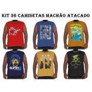 Kit 36 Camisetas Machão Algodão Plus Size p/ Revenda Atacado