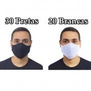 Kit 50 Máscaras Tradicionais Preta e Branca 100% Algodão