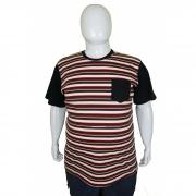 Kit 5 Camisetas Listrada Com Bolso Plus Size