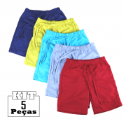 Kit 5 Shorts Bebê Menino(a) Infantil 100% Algodão Atacado
