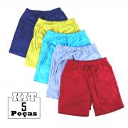 Kit 5 Shorts Bermuda Malha Bebê Menina Menino 100% Algodão