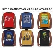 Kit 6 Camisetas Machão Algodão Plus Size p/ Revenda Atacado