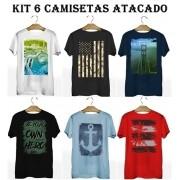 Kit 6 Camisetas T-Shirt Plus Size para Revenda Atacado