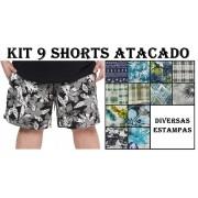 Kit 9 Shorts Plus Size 100% Poliéster para Revenda Atacado