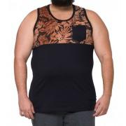 Regata Masculina Plus Size Recorte Estampado c/Bolso