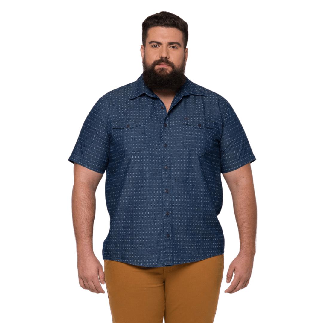 Camisa Masculina Colarinho Balãozinho Plus Size  - HF | High Flight