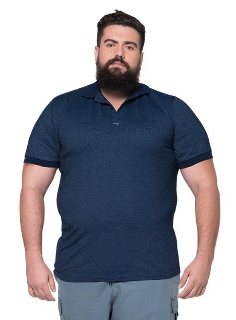 Camisa Polo Jackard Masculina Plus Size  - HF | High Flight