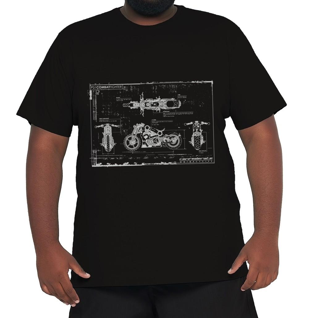 Camiseta Blueprint Moto Plus Size 100% Algodão  - HF | High Flight
