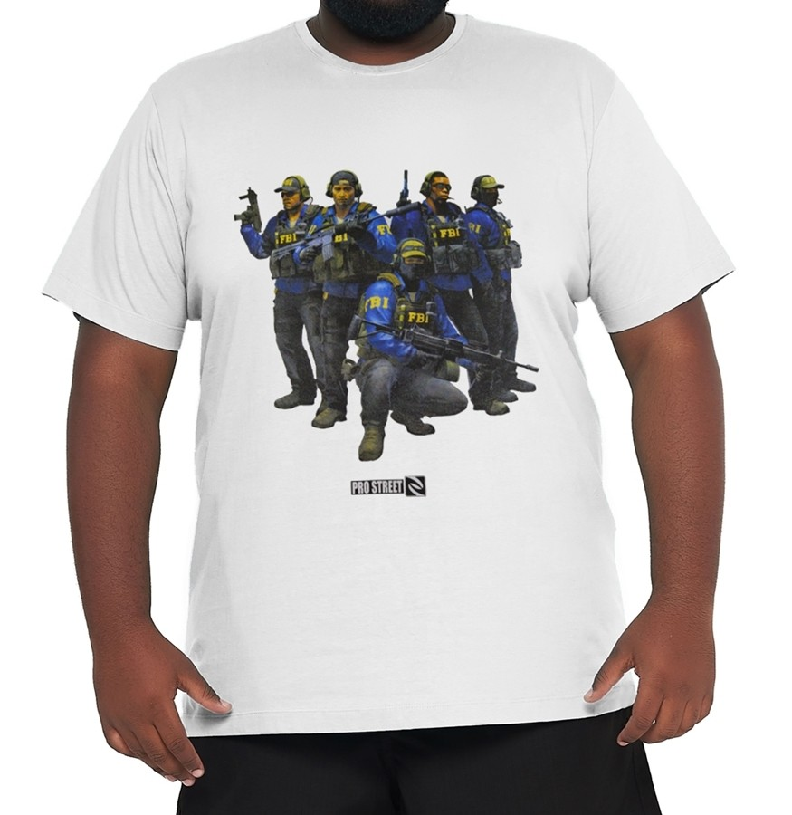 Camiseta Agentes FBI - CSGO Plus Size  - HF | High Flight