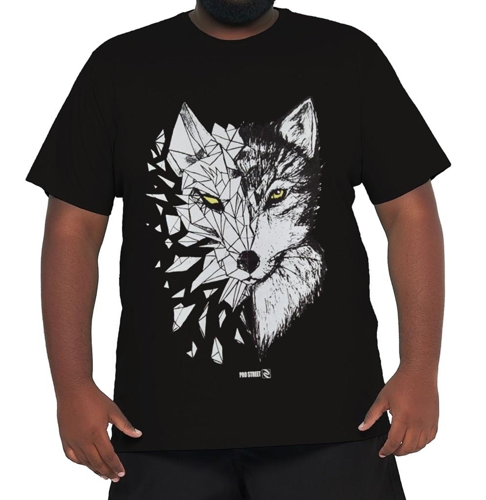 Camiseta Lobo Geométrico XXPlusSize 100% Algodão  - HF | High Flight