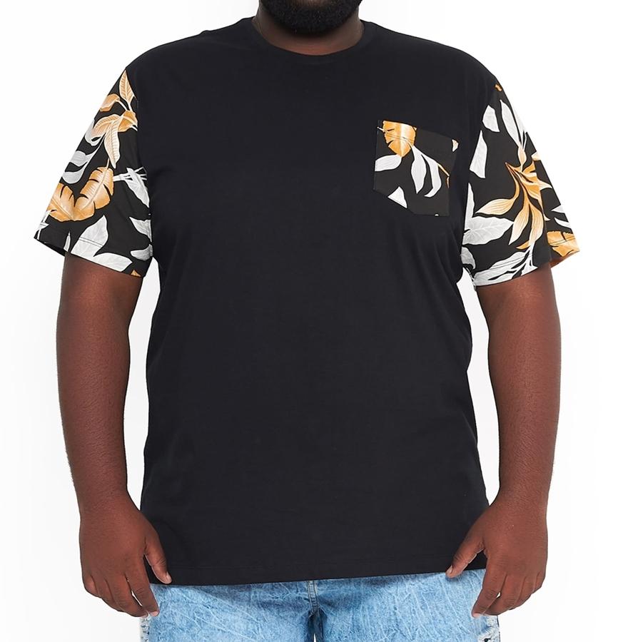 Camiseta Masculina Manga e Bolso Floral Plus Size  - HF | High Flight