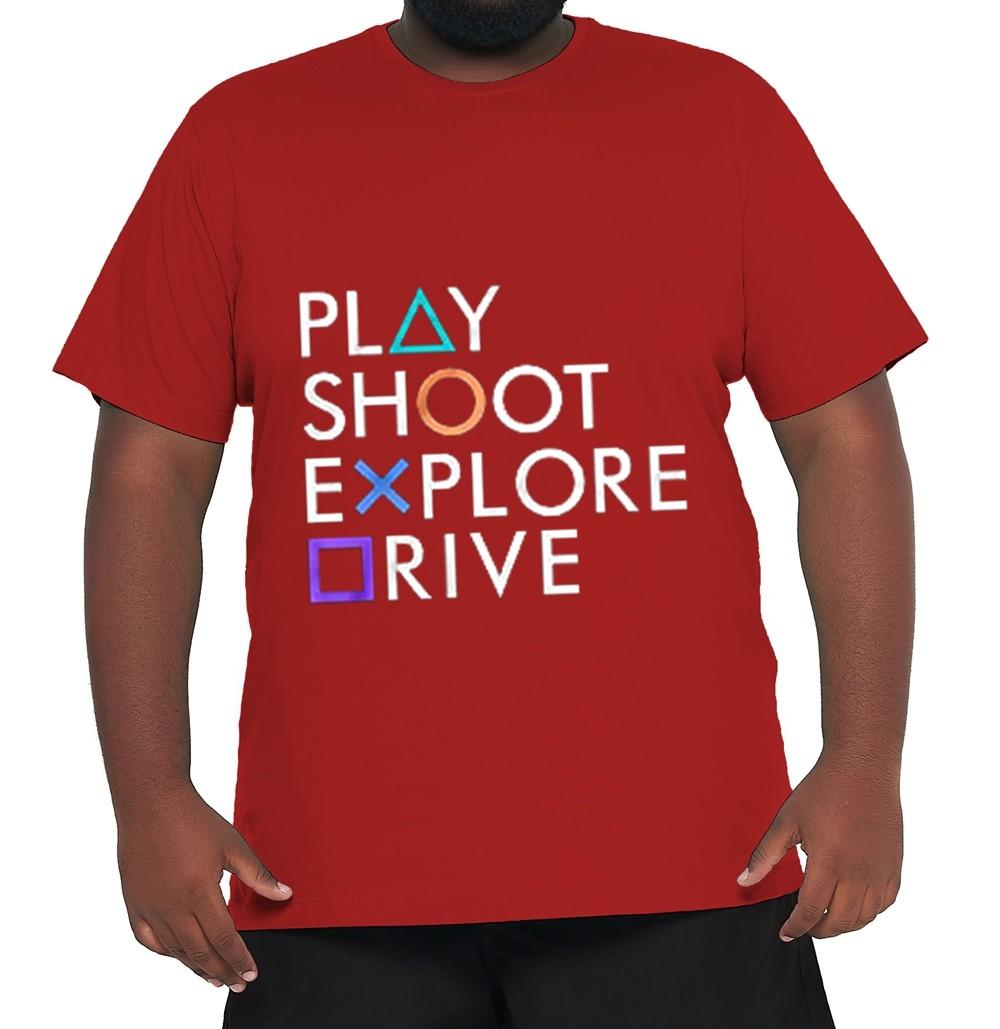 Camiseta Play Station XPlusSize 100% Algodão  - HF | High Flight
