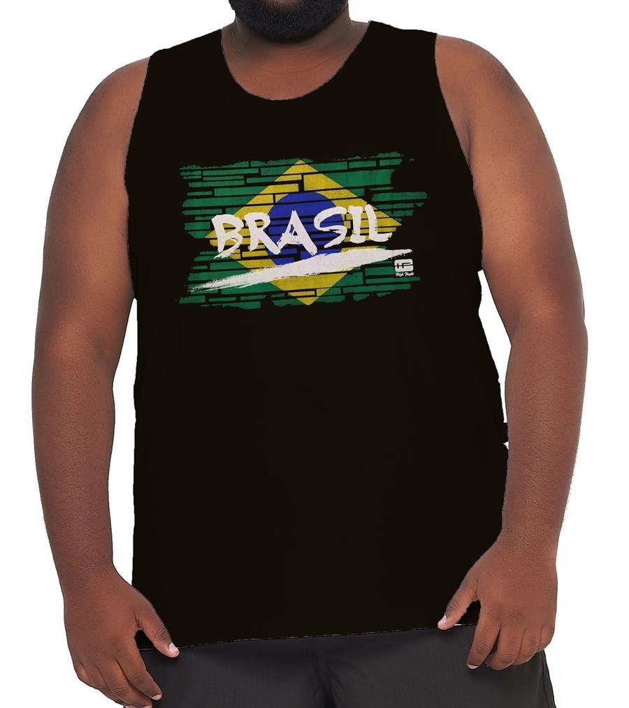 Camiseta Regata Brasil Algodão Plus Size  - HF | High Flight