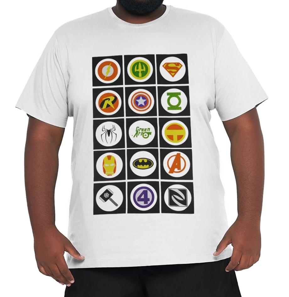 Camiseta Super-Hérois XPlusSize 100% Algodão  - HF | High Flight