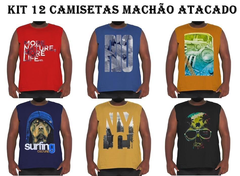 Kit 12 Camisetas Machão Algodão Plus Size p/ Revenda Atacado  - HF | High Flight