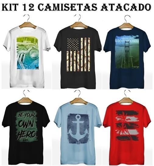 Kit 12 Camisetas T-Shirt Plus Size para Revenda Atacado  - HF   High Flight