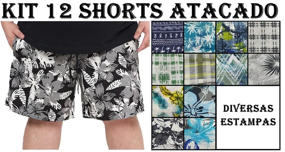 Kit 12 Shorts Plus Size 100% Poliéster para Revenda Atacado  - HF | High Flight