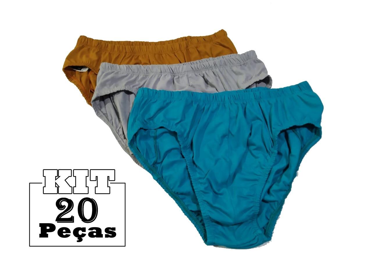 Kit 20 Cuecas Tradicionais Slip Adulto 100 % Algodão P ao GG  - HF | High Flight